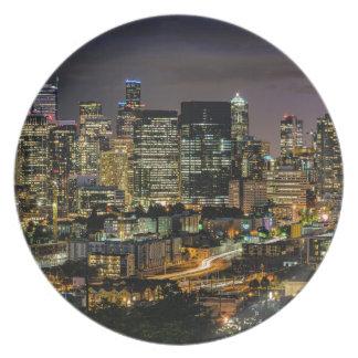 Seattle-Skyline nachts Teller
