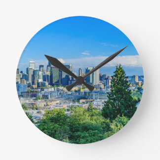 Seattle-Skyline Runde Wanduhr