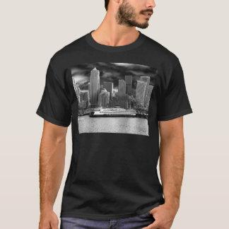 Seattle-Skyline Schwarzweiss T-Shirt