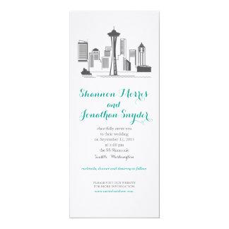 Seattle-Stadt-Skyline-Hochzeits-Einladung Karte