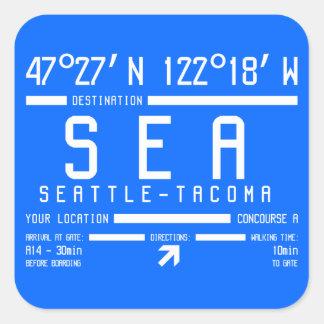 Seattle-Tacoma Flughafen-Code Quadratischer Aufkleber