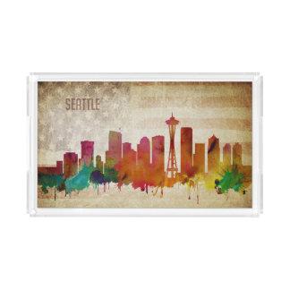 Seattle, WA | Aquarell-Stadt-Skyline Acryl Tablett