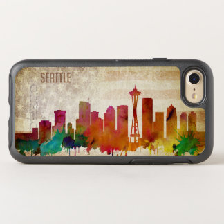 Seattle, WA | Aquarell-Stadt-Skyline OtterBox Symmetry iPhone 8/7 Hülle