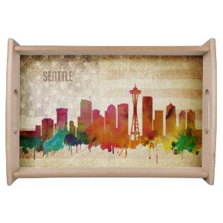 Seattle, WA | Aquarell-Stadt-Skyline Tablett