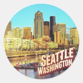 Seattle Washington Runder Aufkleber