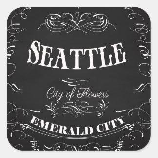 Seattle Washington - Stadt der Blumen Quadrat-Aufkleber