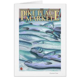 SeattleFish auf Eis am Pike-Platz-Markt Grußkarten