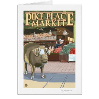 SeattleFish Wurf und Bronze-Schwein an Pike-Platz Karte