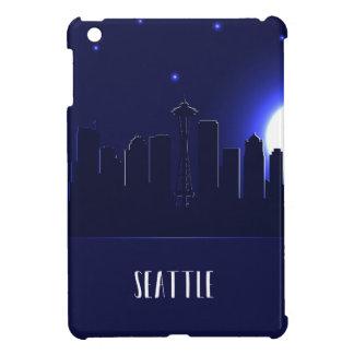 Seattleskyline-Silhouette nachts iPad Mini Hülle