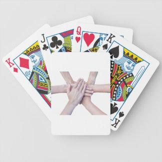 Sechs Arme vereinigen mit den Händen auf einander Bicycle Spielkarten