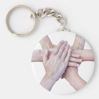 Sechs Arme vereinigen mit den Händen auf einander Schlüsselanhänger