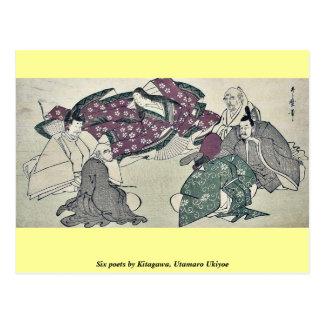 Sechs Dichter durch Kitagawa, Utamaro Ukiyoe Postkarte
