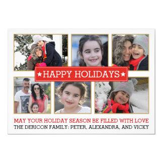 Sechs Fotorot und Goldmoderner Weihnachtsfeiertag 12,7 X 17,8 Cm Einladungskarte