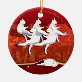 Sechs Katzen ein-Legen… Weihnachtsbaum Rundes Keramik Ornament