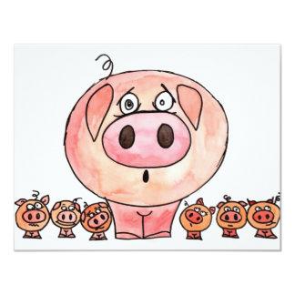 Sechs kleine Schweine Individuelle Ankündigskarten