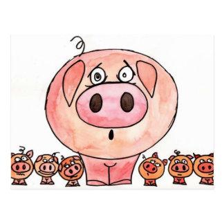 Sechs kleine Schweine Postkarte