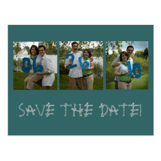 sechs, sechsundzwanzig, zehn, SAVE THE DATE! Postkarte