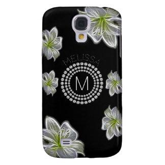 Sechs weiße Blumen mit Diamanten und Ihrem Namen Galaxy S4 Hülle