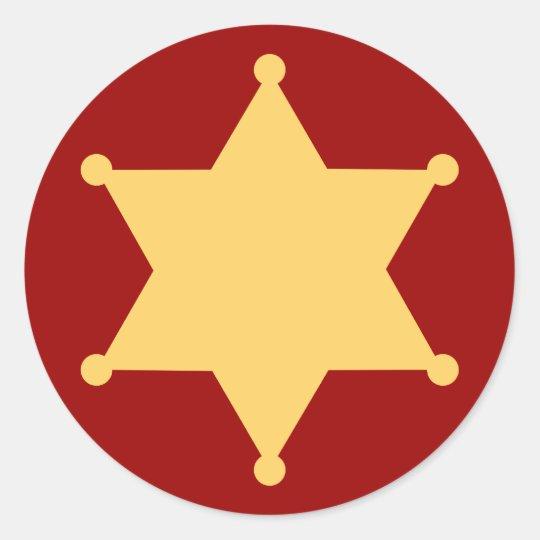Sechseck Sheriffstern hexagon sheriff's badge Runder Aufkleber