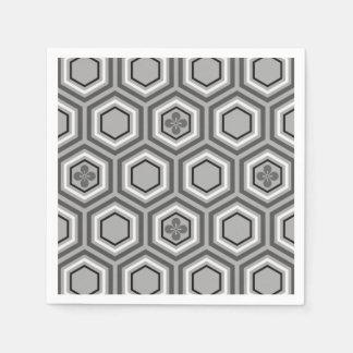 Sechseckiger Kimono-Druck, grau/Grau und Weiß Papierserviette