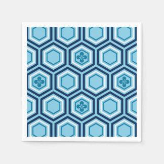 Sechseckiger Kimono-Druck, Marine und hellblaues Papierserviette