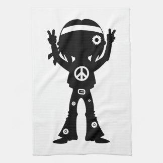 Sechziger-Friedenshippie-Silhouette Küchentuch