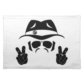 Sechziger-Friedenshippie-Silhouette Stofftischset