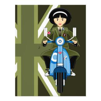Sechziger-Mod-Mädchen im Parka mit Roller-Flyer 21,6 X 27,9 Cm Flyer
