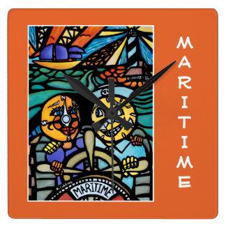 See auf Orange - Zeit-Stücke Quadratische Wanduhr