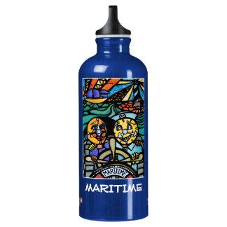 See- Blau - Zeit-Stücke Aluminiumwasserflasche