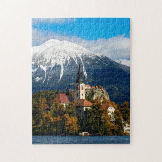 See blutete Landschaft im Herbst Puzzle