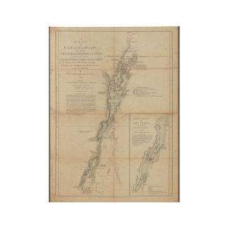 See Champlain und historische Karte 1762 Holzposter