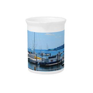 See-Hafen-SailBoats Seeansicht von Boston-Stadt Getränke Pitcher