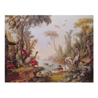 See mit Gänsen, Störchen, Papageien und Reihern Postkarte
