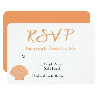 See-UAWG orange Seashell-Strand-Hochzeit 8,9 X 12,7 Cm Einladungskarte