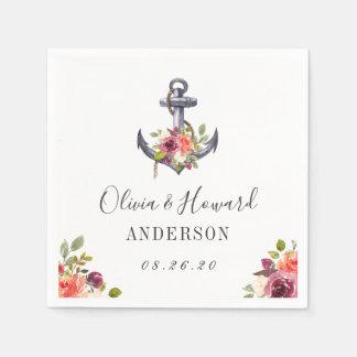 Seeanker-Aquarell-Wedding Blumenknoten Serviette