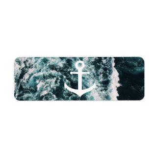 Seeanker auf Ozean-Fotohintergrund