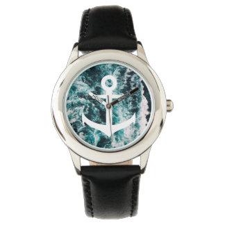 Seeanker auf Ozean-Fotohintergrund Armbanduhr