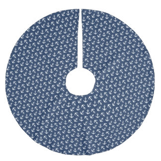 Seeanker-Aweigh Muster-Marine Polyester Weihnachtsbaumdecke