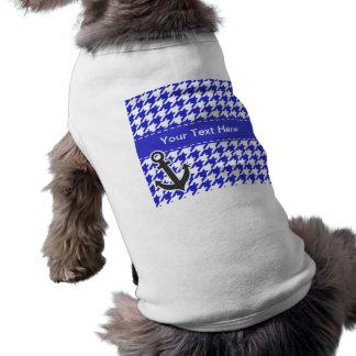 Seeanker; Blaues u. weißes Hahnentrittmuster Shirt