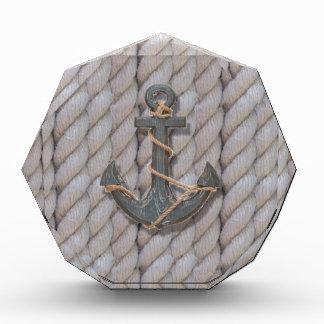 Seeanker des grauen Küstenstrandseils Acryl Auszeichnung