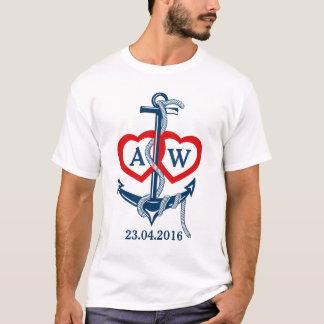 Seeanker des personalisierten Hochzeits-T - Shirt