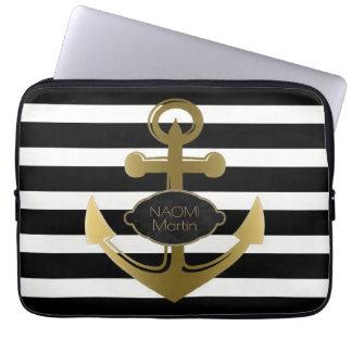 Seeanker-Goldnamen-moderne schwarze Streifen Laptopschutzhülle