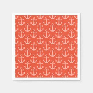Seeanker im korallenroten rosa hübschen Muster Serviette