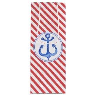 Seeanker - Marine-Blau-gestreifte Geschenk-Tasche Geschenktüte Für Weinflaschen