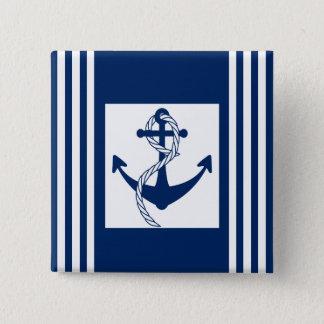 Seeanker mit einem Seil Quadratischer Button 5,1 Cm