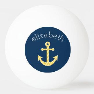 Seeanker mit Marine-Gelb-Zickzack Muster Tischtennis Ball