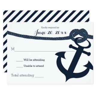 Seeanker-und Seil-Hochzeits-Wartedunkelheit 8,9 X 12,7 Cm Einladungskarte