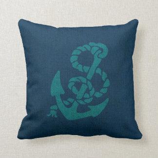 Seeanker-und Seil-Ozean-blaues Grün Zierkissen