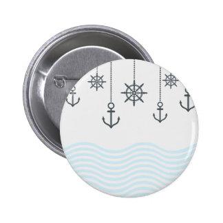 Seeanker und Wellen Runder Button 5,1 Cm